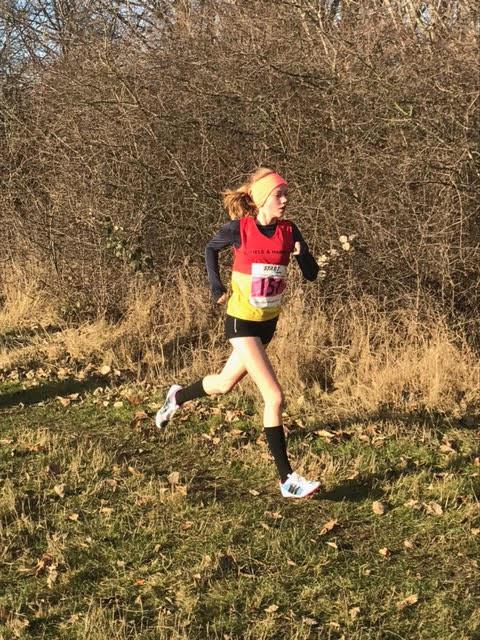 Mia Manttan at Wormwood Scrubs (3rd December)  on her way to victory in the G13 Start Fitness Metropolitan XC League race